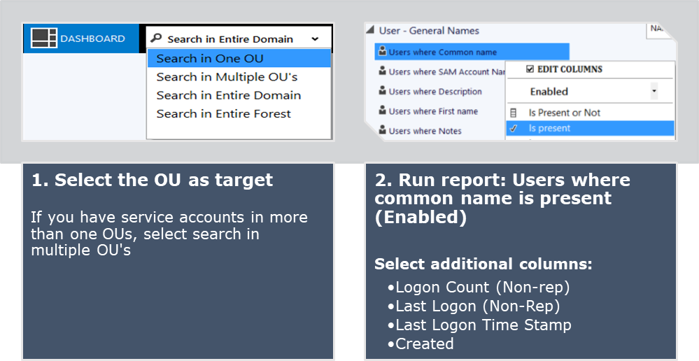 How to report on special accounts such as service, resource
